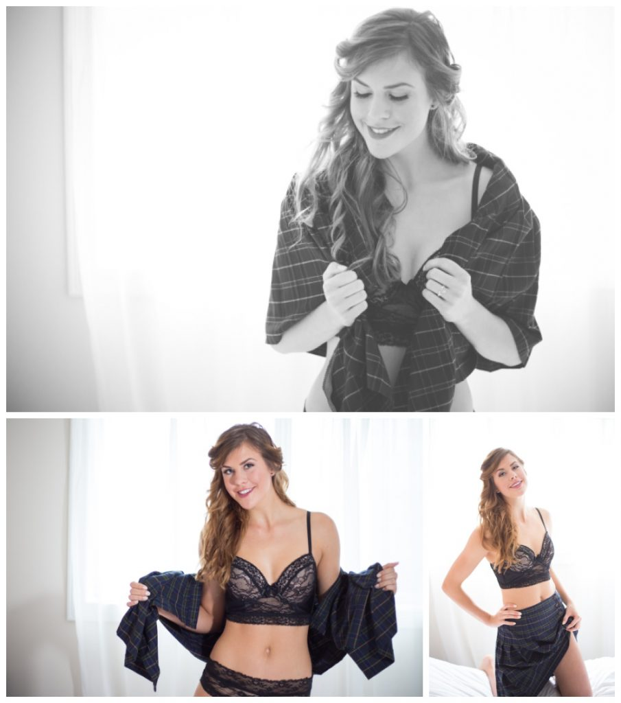 Photos of a woman doing a boudoir session in a kilt.