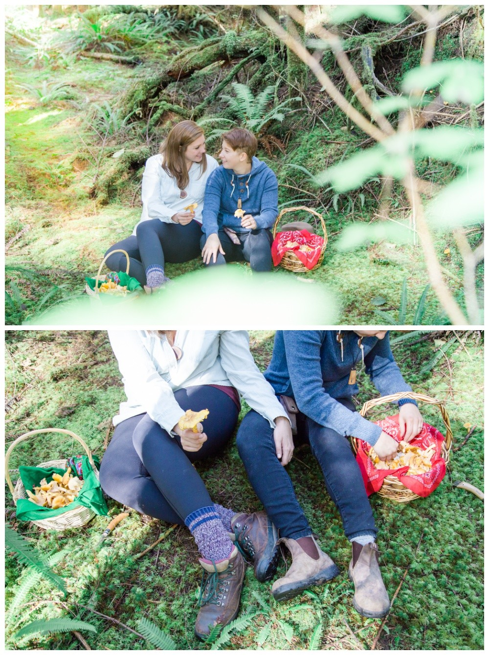Lesbian couple check out their mushroom harvest