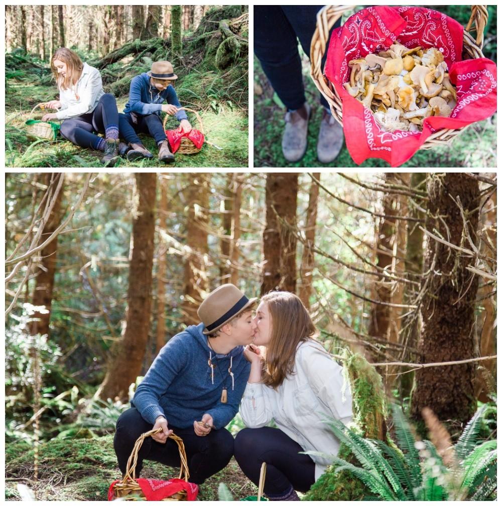 Lesbian couple's tofino forest mushroom picking engagement session