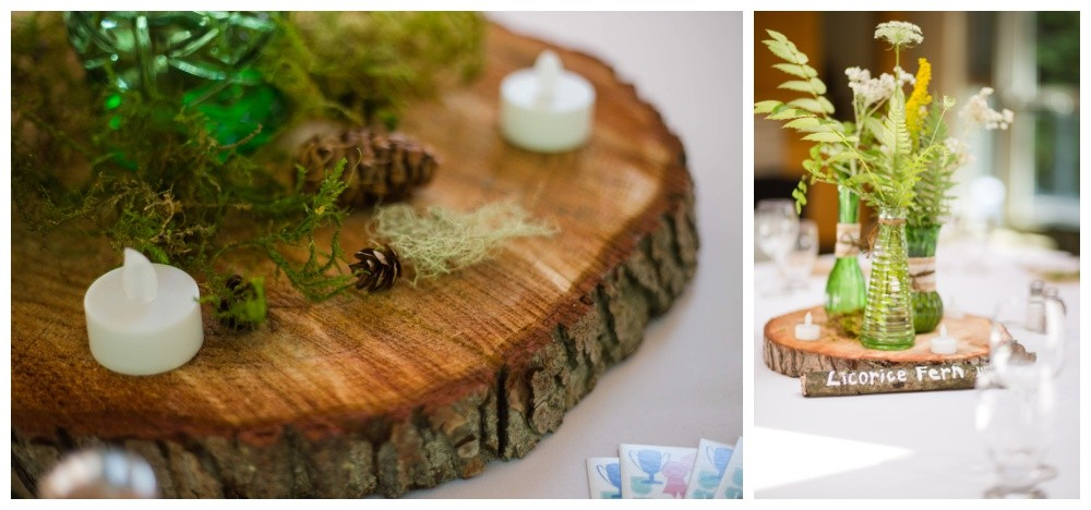 natural forest wedding centrepieces