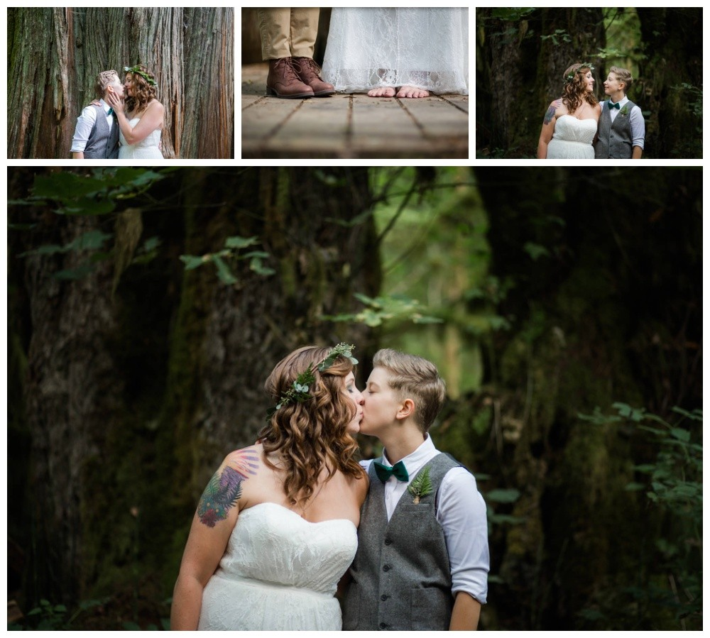 LGBT couple pose for their wedding photos in the forest at Cheakamus centre