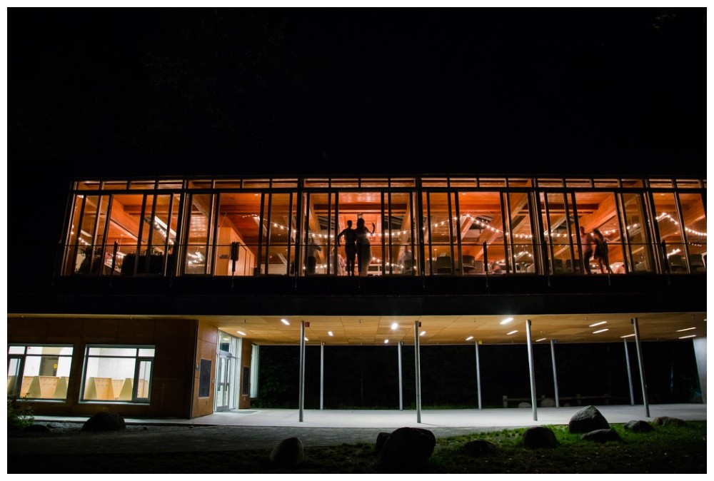 Cheakamus Centre wedding reception at night