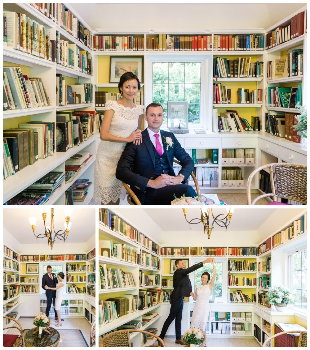 bride and groom portraits at historic vancouver island wedding venue milner gardens