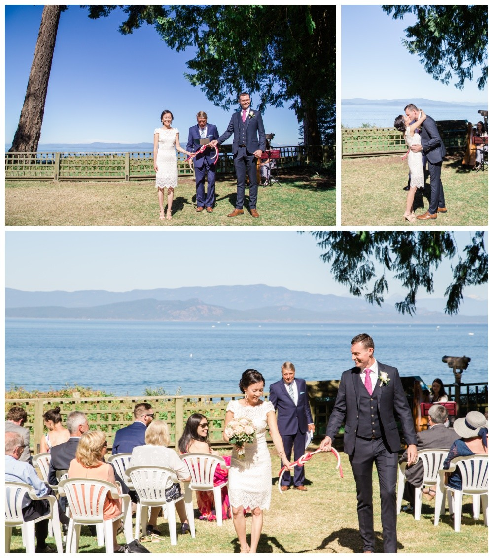 Couple at their tying the knot ceremony at milner gardens wedding venue