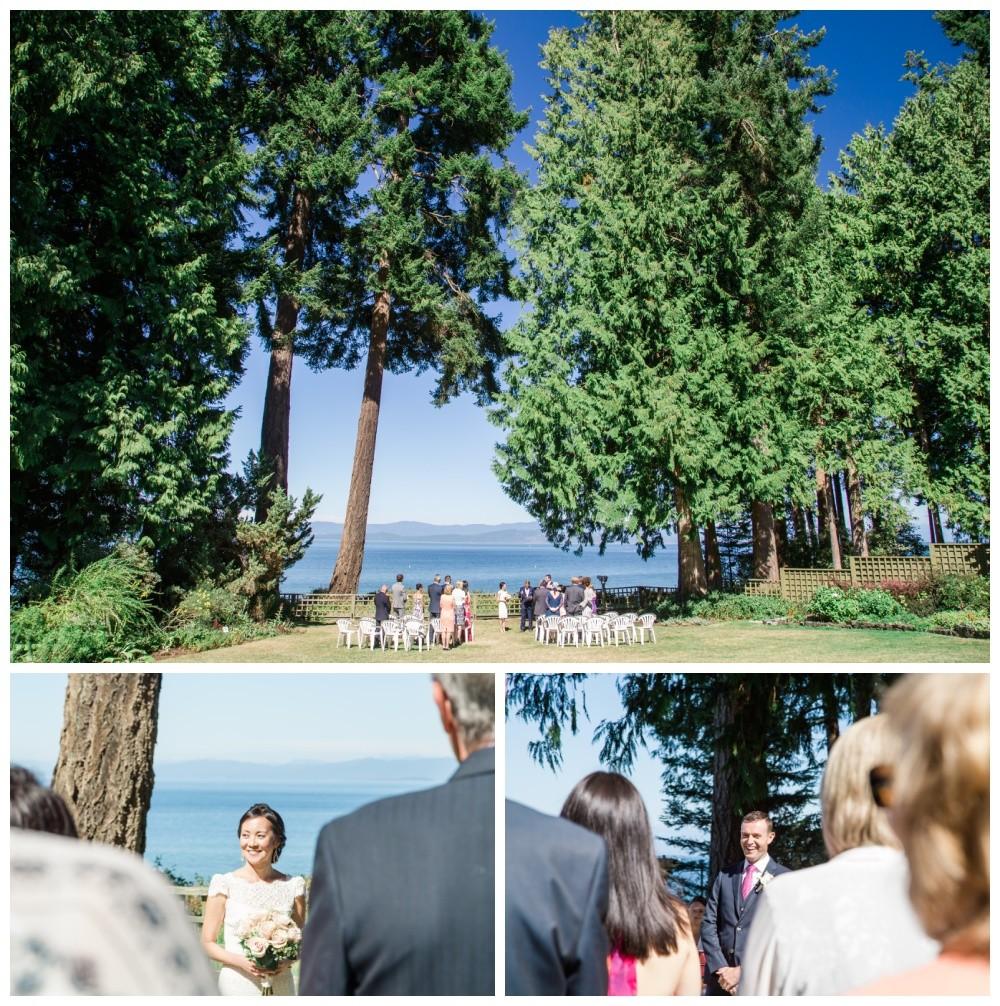 Wedding ceremony at the historic Milner Gardens in Qualicum