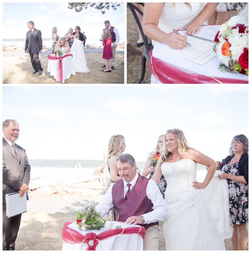 Signing the marriage certificate at comox wedding
