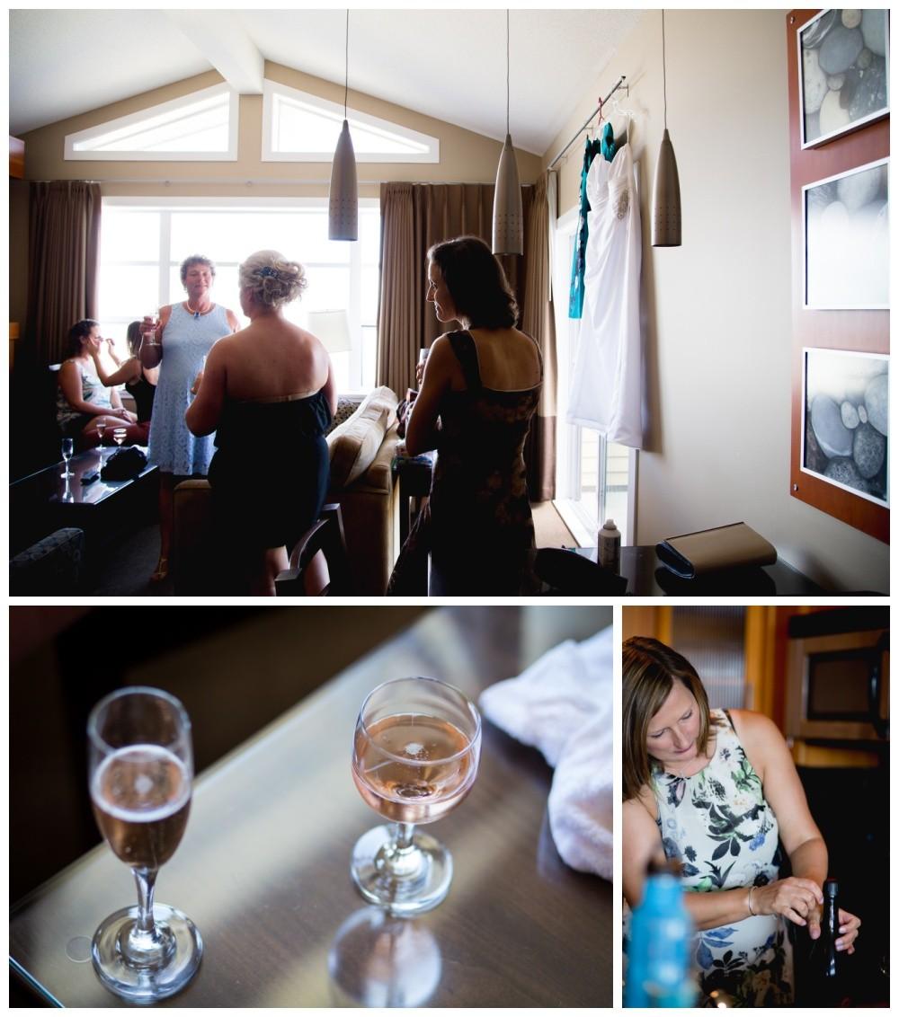 Bridesmaids getting ready at the beach club