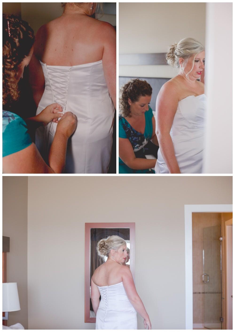 Bride getting ready for her oceanside wedding