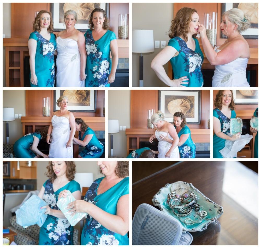 Bridesmaids help bride prepare for her wedding