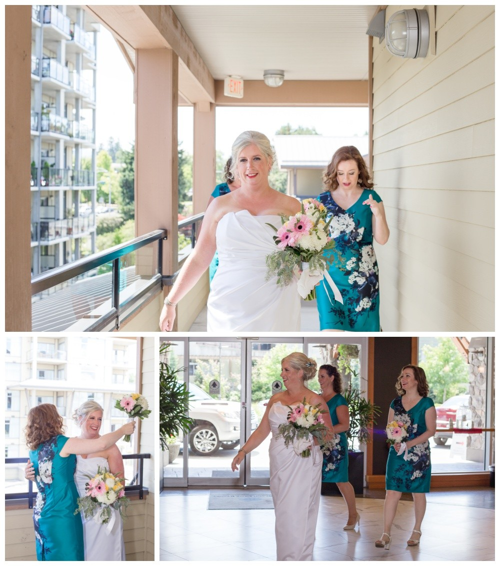 Bride heading to her wedding at the beach club in parksville