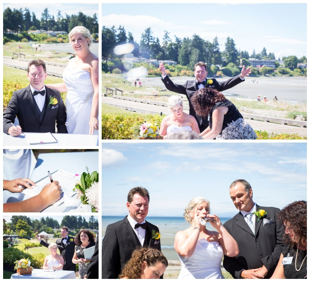 Bride and groom celebrate while signing their wedding papers at parksville beach