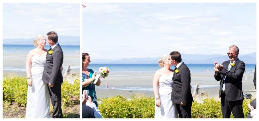 Bride and groom first kiss Parksville beach club