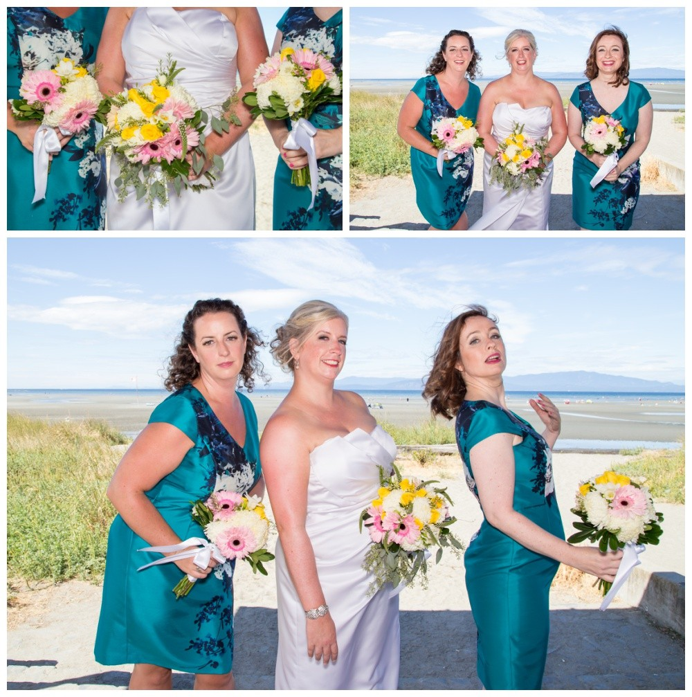 Bridesmaids photos on parkville beach boardwalk