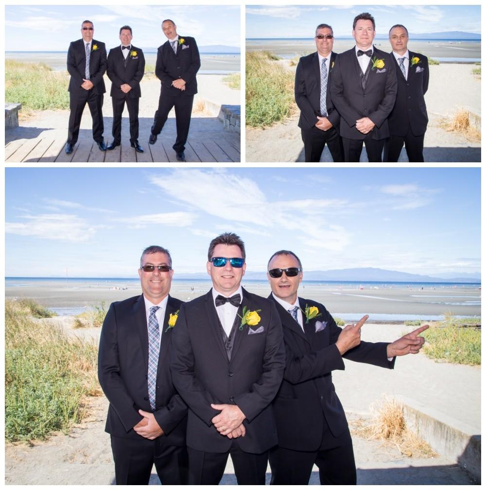Groomsmen photos at parksville beach boardwalk