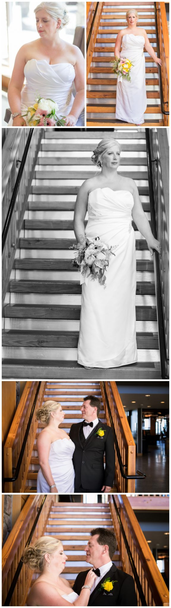 Bridal portraits in the stairs at the beach club on Vancouver island