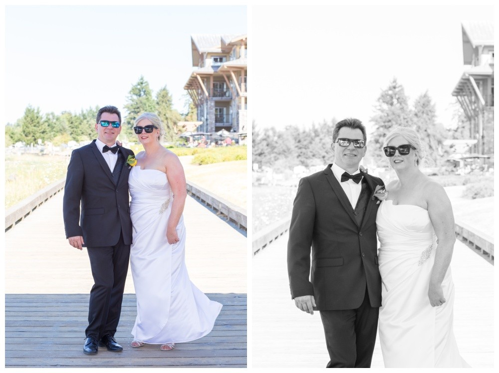 Bride and groom portraits with sunglasses on the boardwalk in parksville