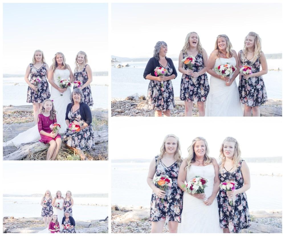 Bridal party photos on the beach at Kin Beach in Comox