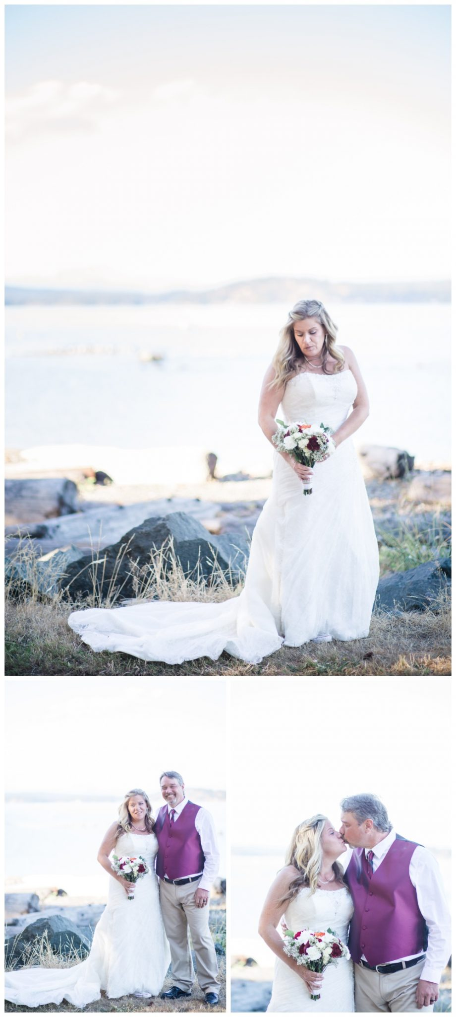 Bridal portraits on the beach at comox wedding