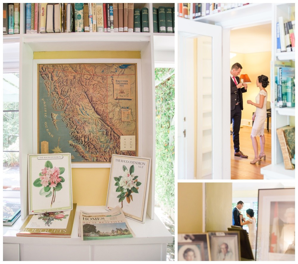 Bride and groom getting ready in their parksville wedding venue