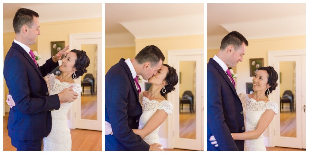 Bride and groom embrace before their wedding ceremony at Milner Gardens