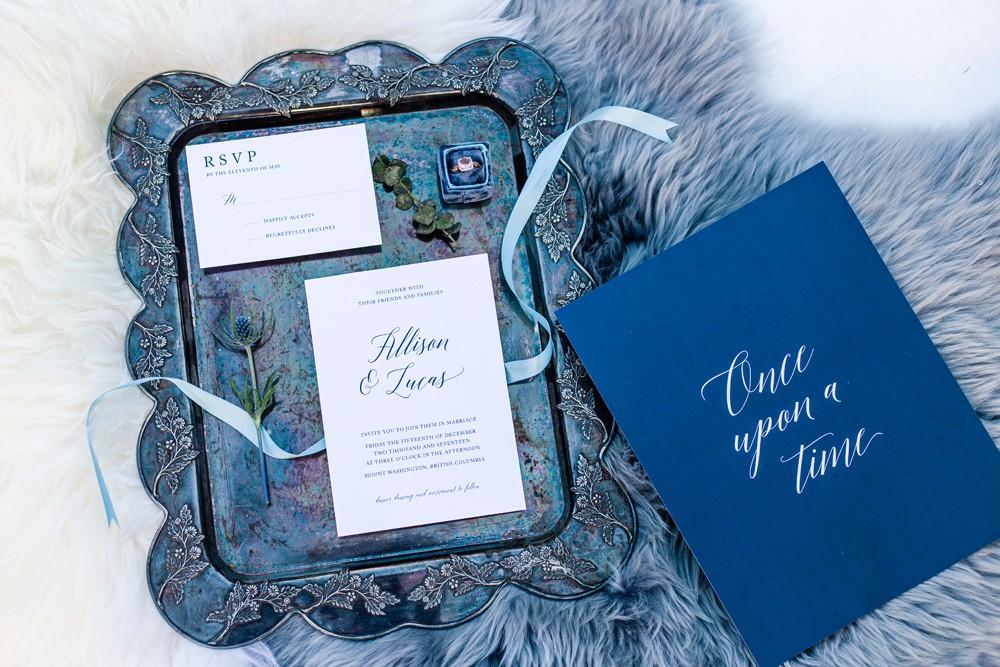 Blue wedding details vancouver island