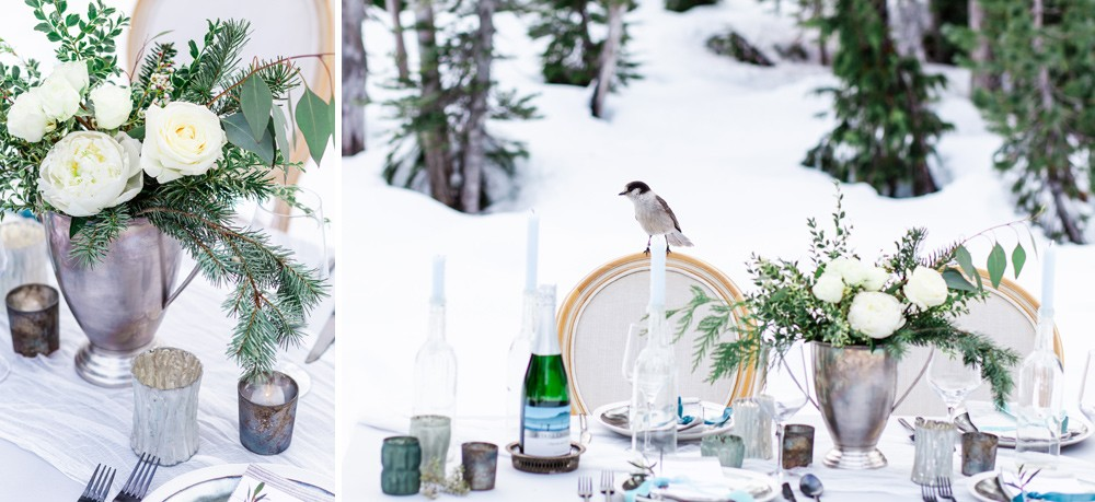 Romantic winter table styling