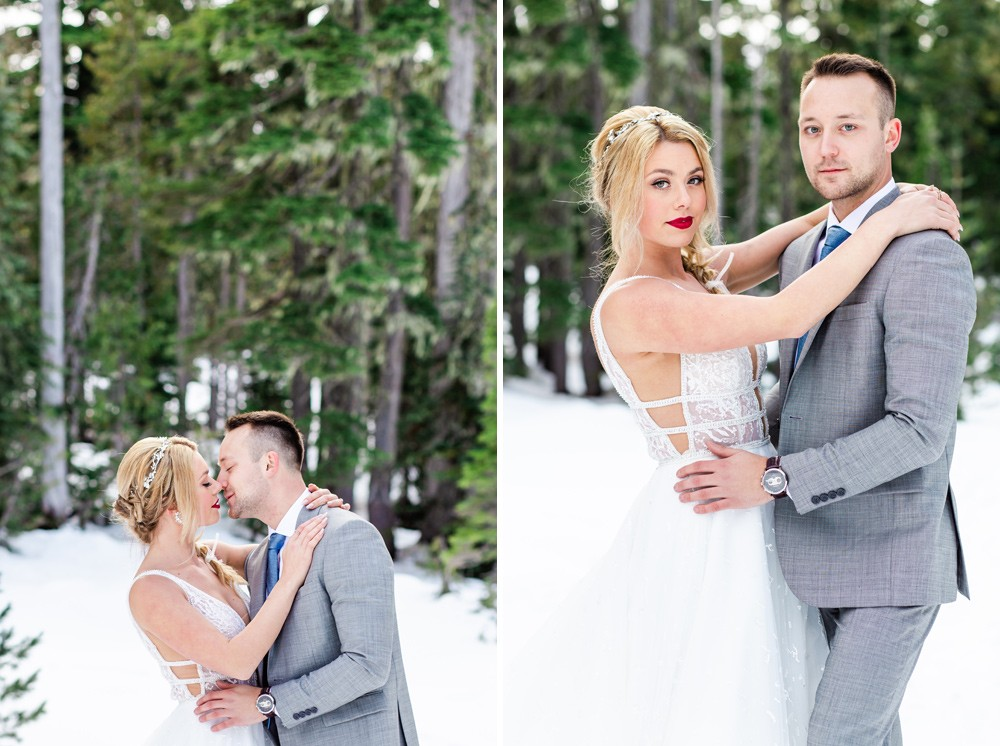 Wedding couple in the snow on vancouver island