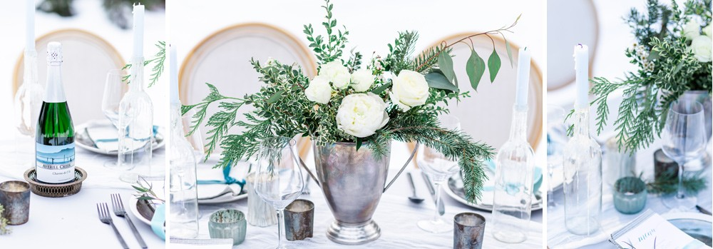Winter elopement table Vancouver Island
