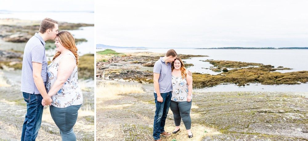 Bright and airy photos of a couple on a rocky beach