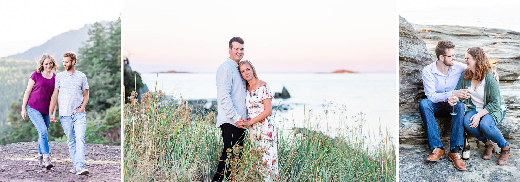 3 photos of engagement sessions on Vancouver Island