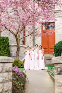 Bride and bridesmaids pose for group photo under a blossoming cherry tree in downtown Victoria BC
